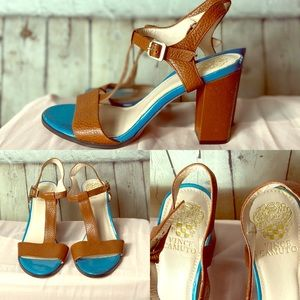 """2/$50 Open toe Vince Camuto chunky 4"""" heels 9.5"""